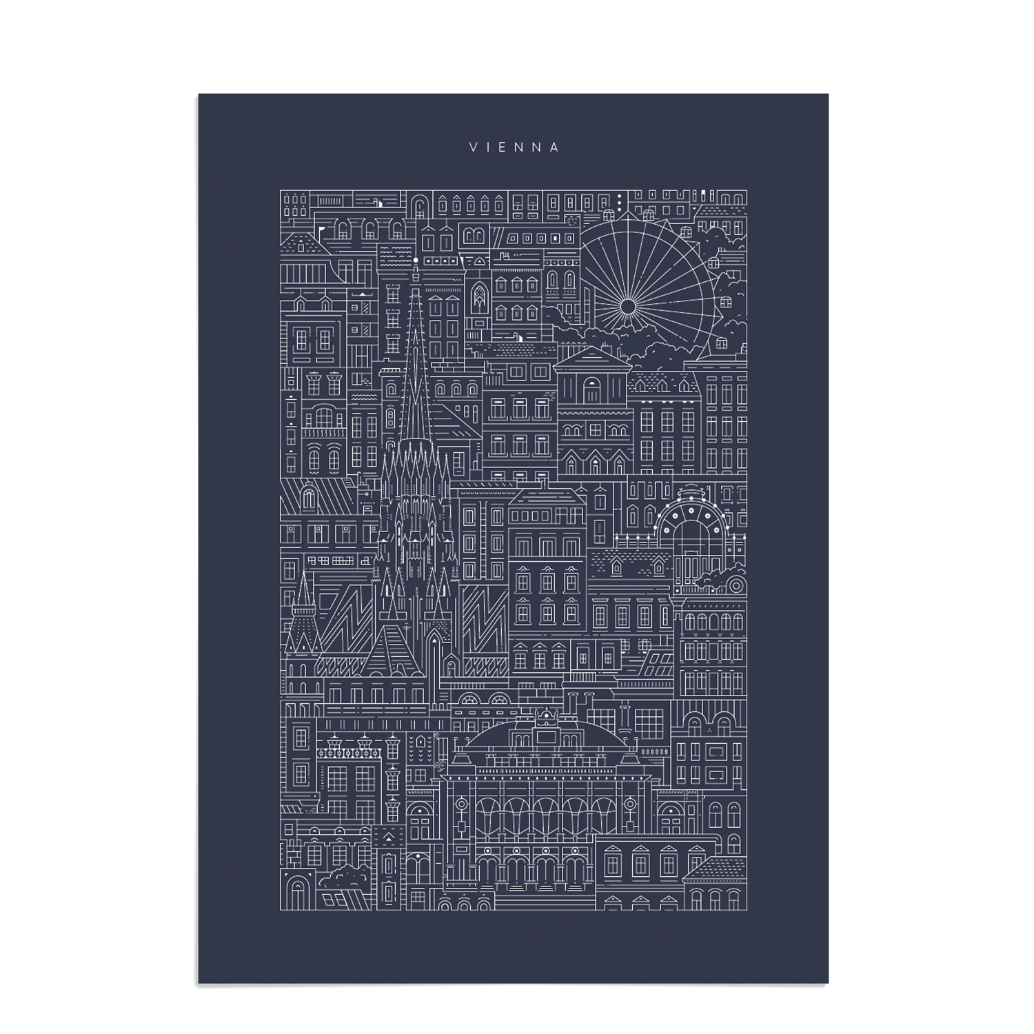 Place in Print The City Works Vienna Blueprint Art Print Unframed