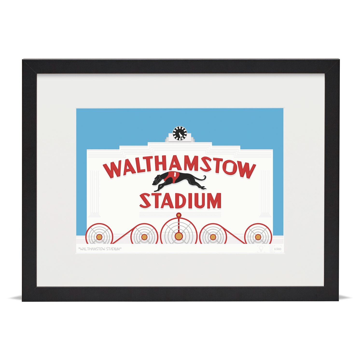 Place in Print Walthamstow Stadium Art Poster Print Black Frame