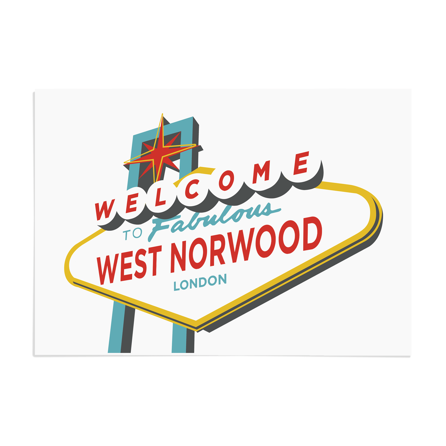 Place in Print Welcome to West Norwood Vegas Sign Art Print Unframed