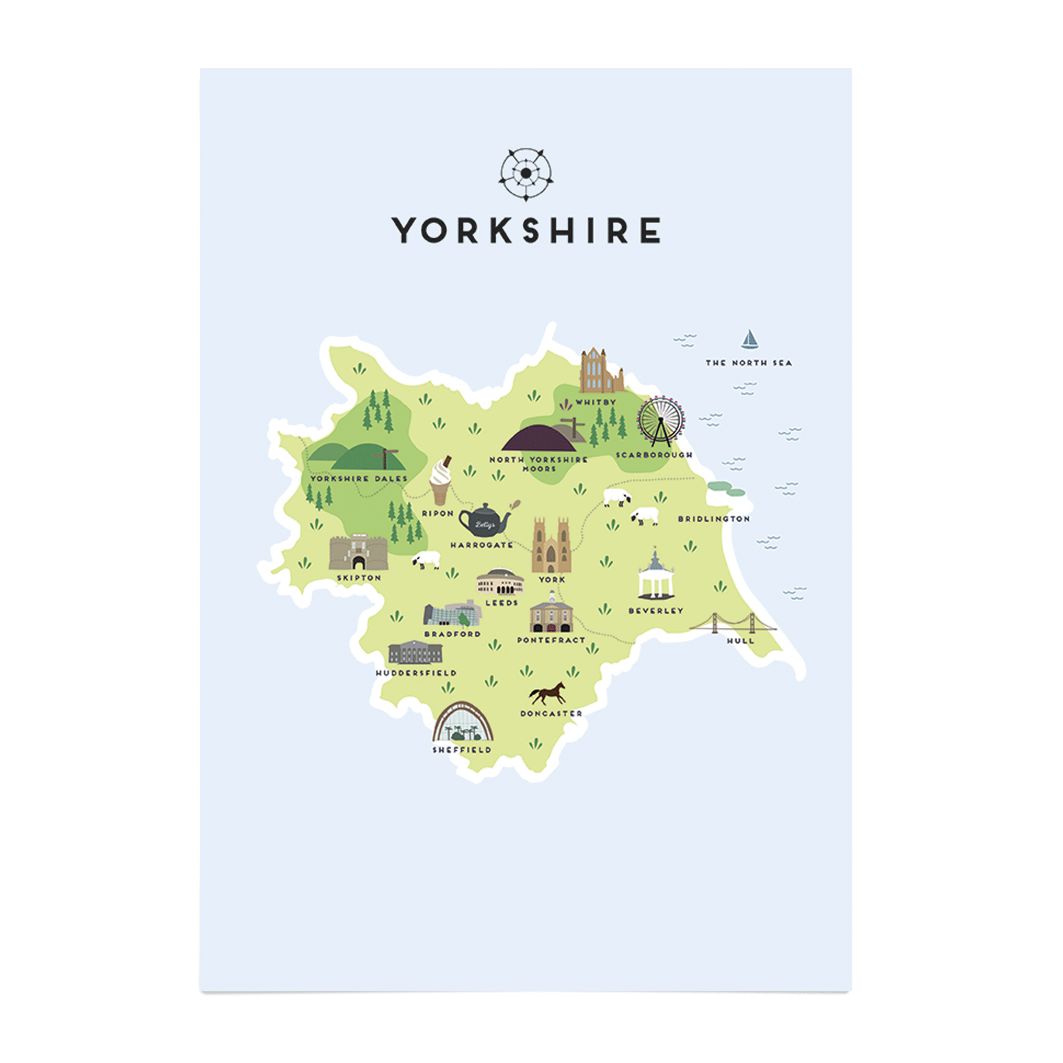 Yorkshire Illustrated Map Beverley Art Prints Place in Print