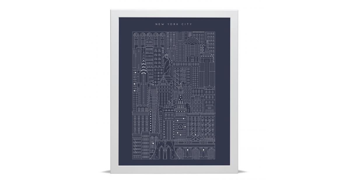New york city blueprint manhattan art prints place in print malvernweather Choice Image
