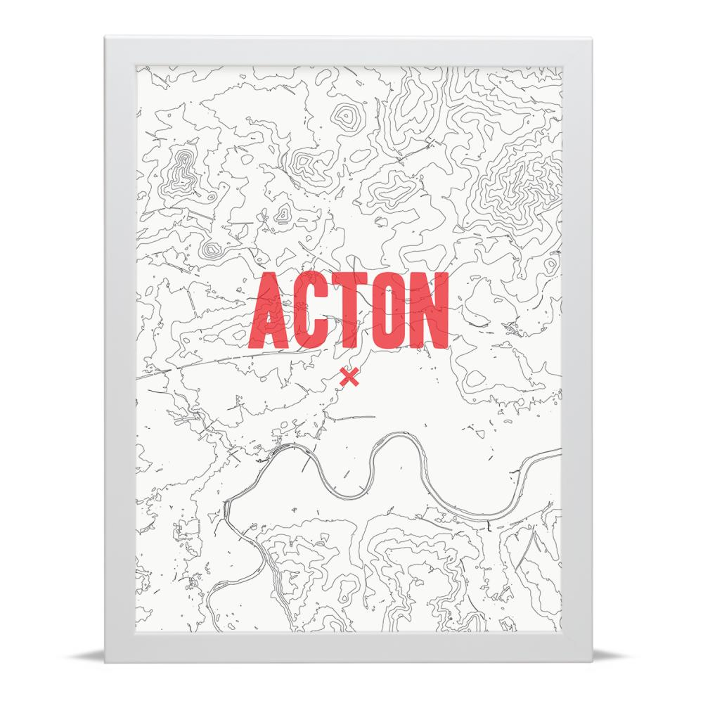 Place in Print Acton Contour Map Art Print