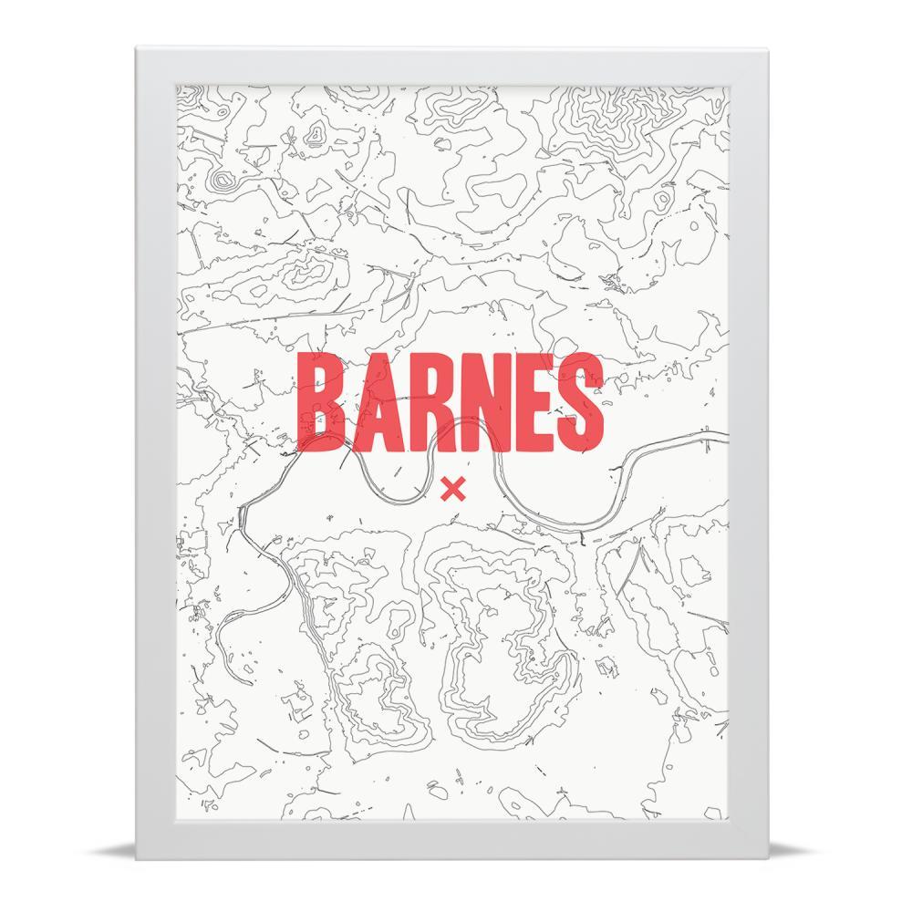 Place in Print Barnes Contour Map Art Print