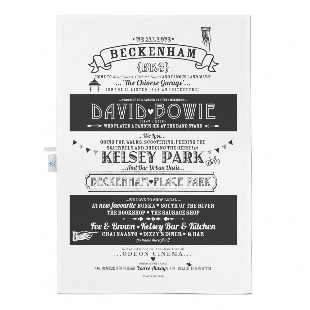 Place in Print Octavia Plum Beckenham Facts Tea Towel
