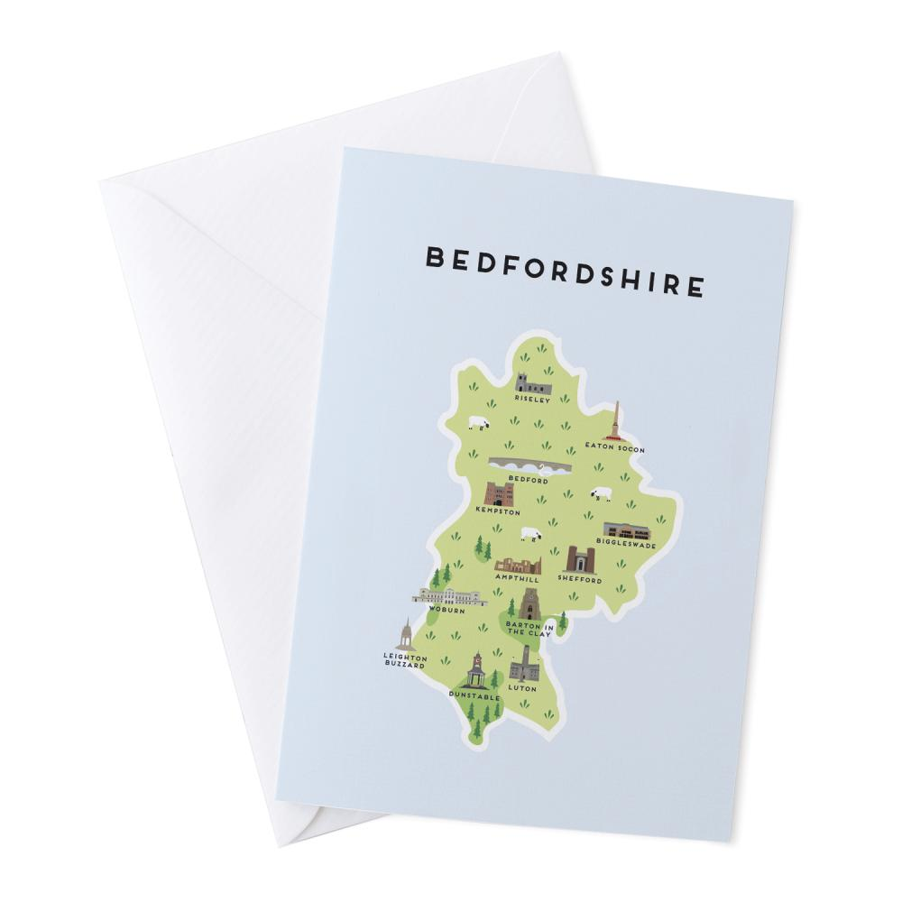 Place in Print Pepper Pot Studios Bedfordshire Illustrated Map Greetings Card