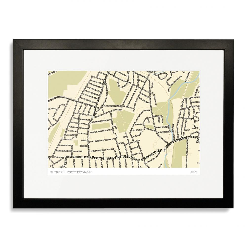 Blythe Hill Street Typography Map Art Poster Print