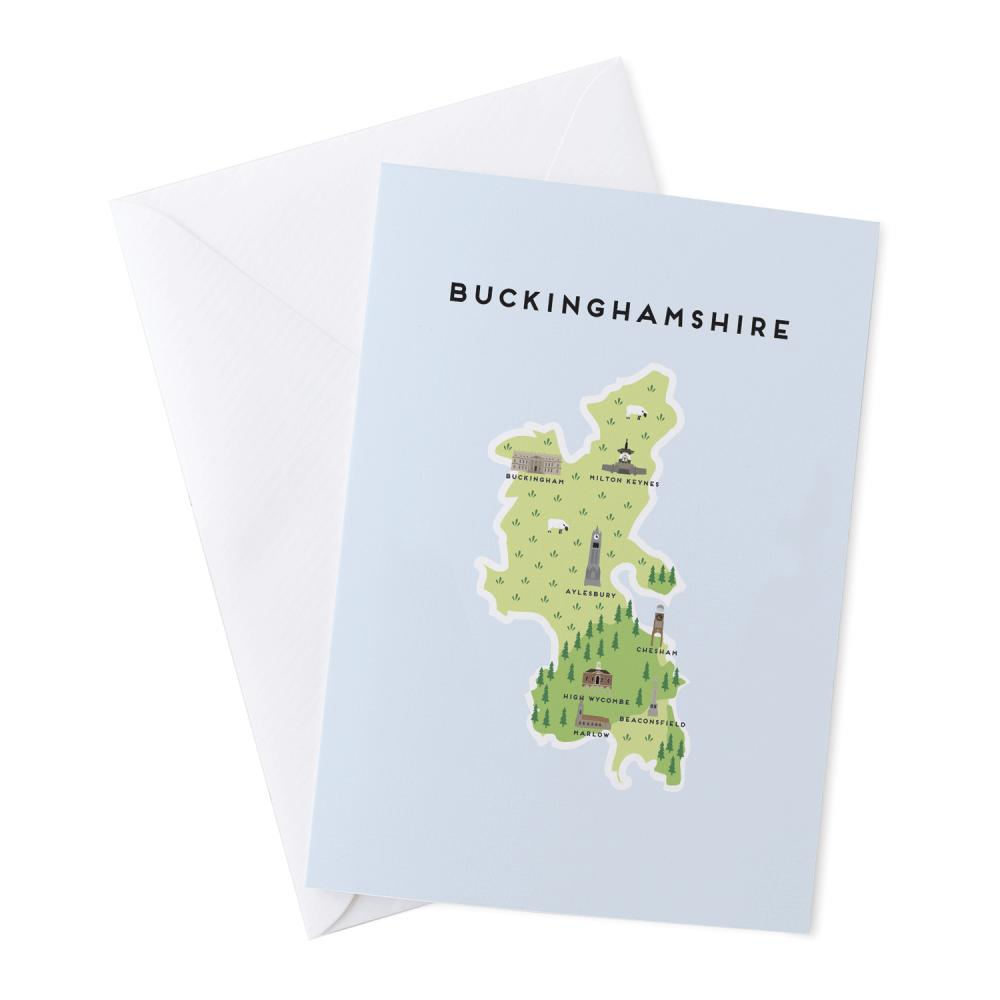 Place in Print Pepper Pot Studios Buckinghamshire Illustrated Map Greetings Card