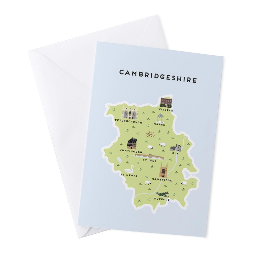 Place in Print Pepper Pot Studios Cambridgeshire Illustrated Map Greetings Card