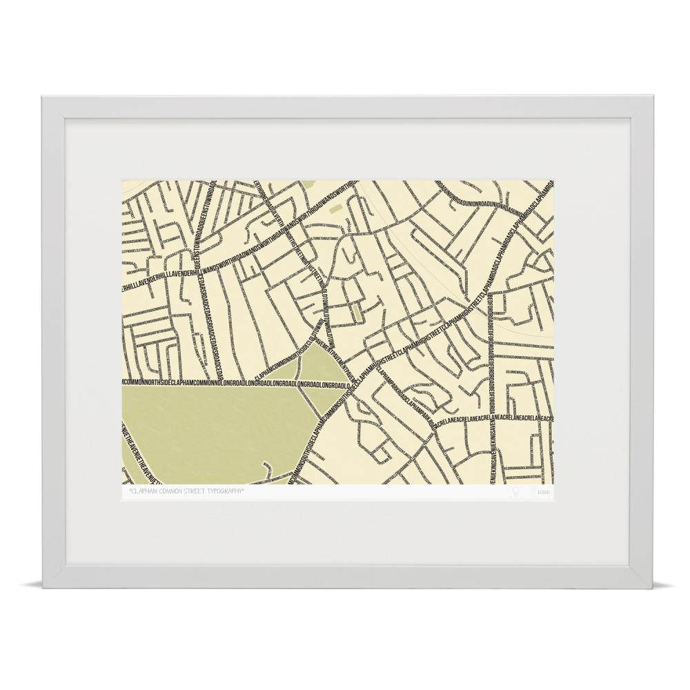Place in Print South London Prints Clapham Common Street Typography Typographic Map Art Print