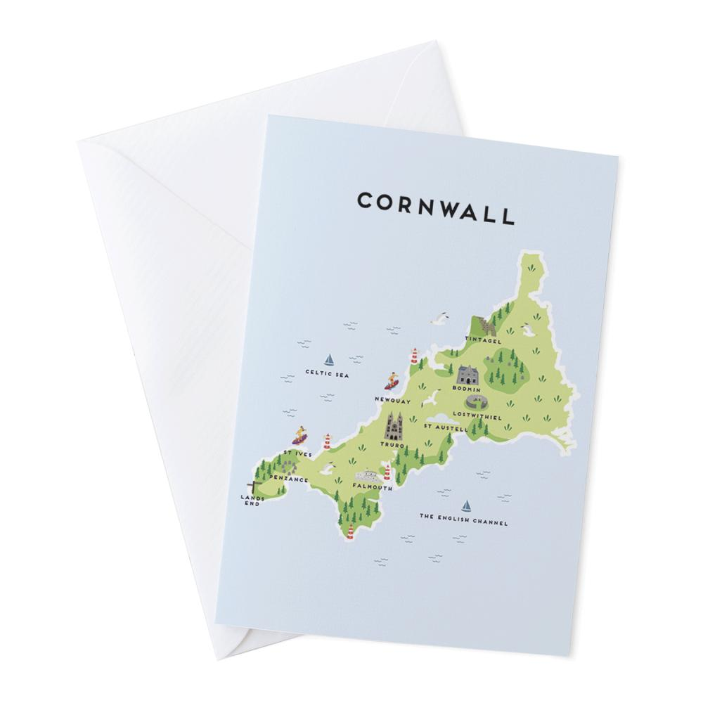 Place in Print Pepper Pot Studios Cornwall Illustrated Map Greetings Card