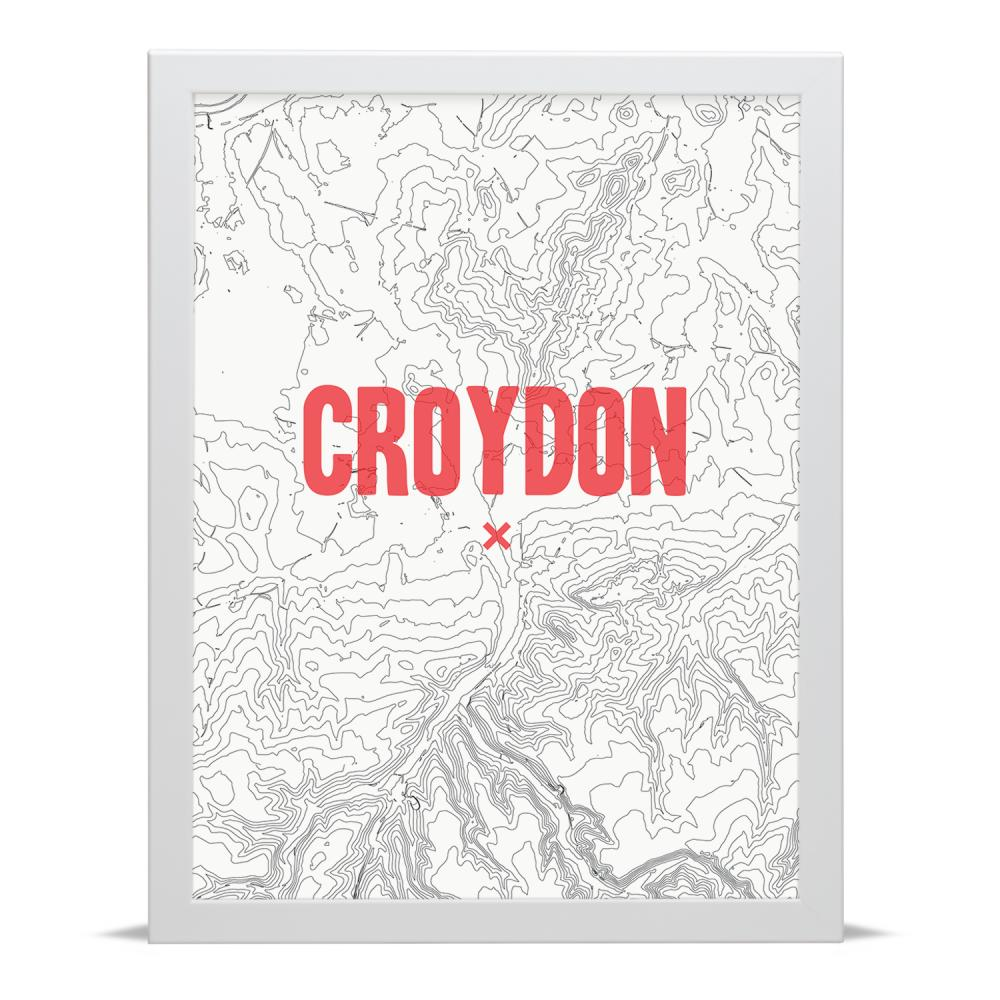 Place in Print Croydon Contour Map Art Print