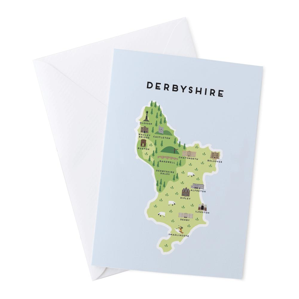 Place in Print Pepper Pot Studios Derbyshire Illustrated Map Greetings Card