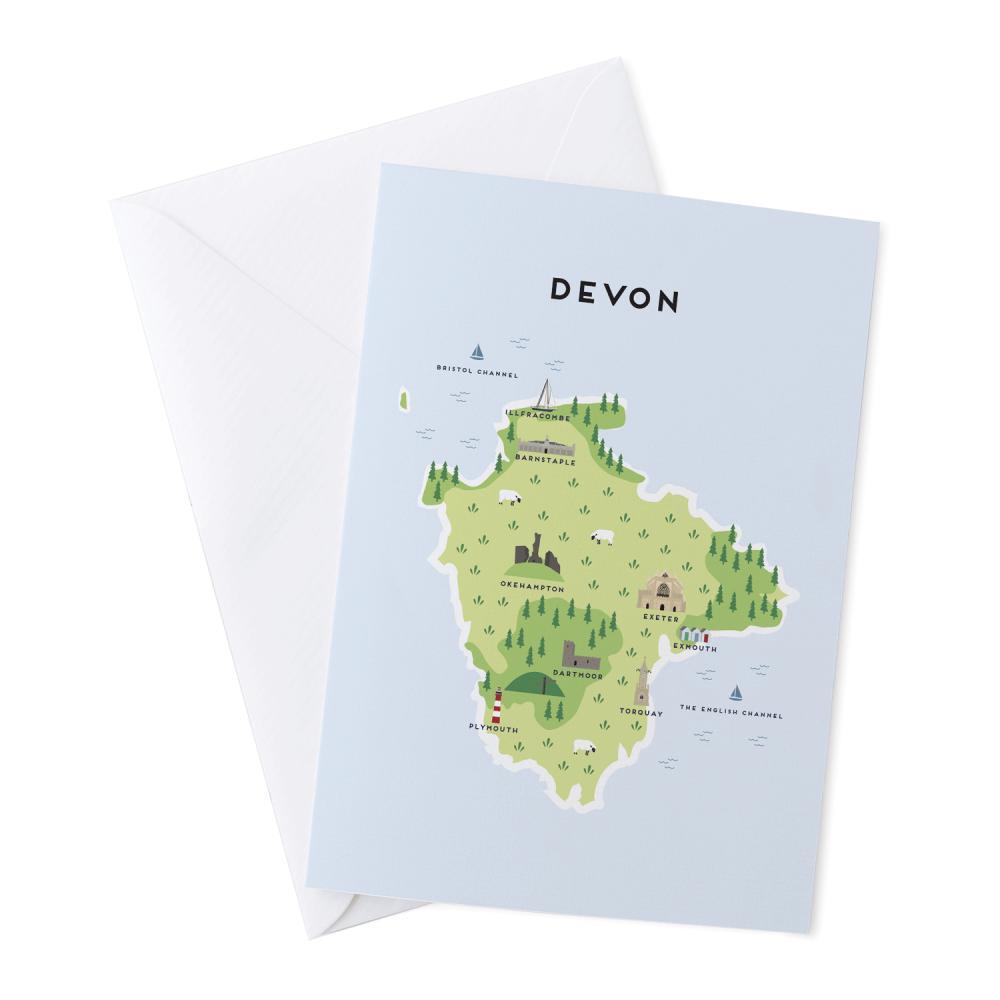 Place in Print Pepper Pot Studios Devon Illustrated Map Greetings Card