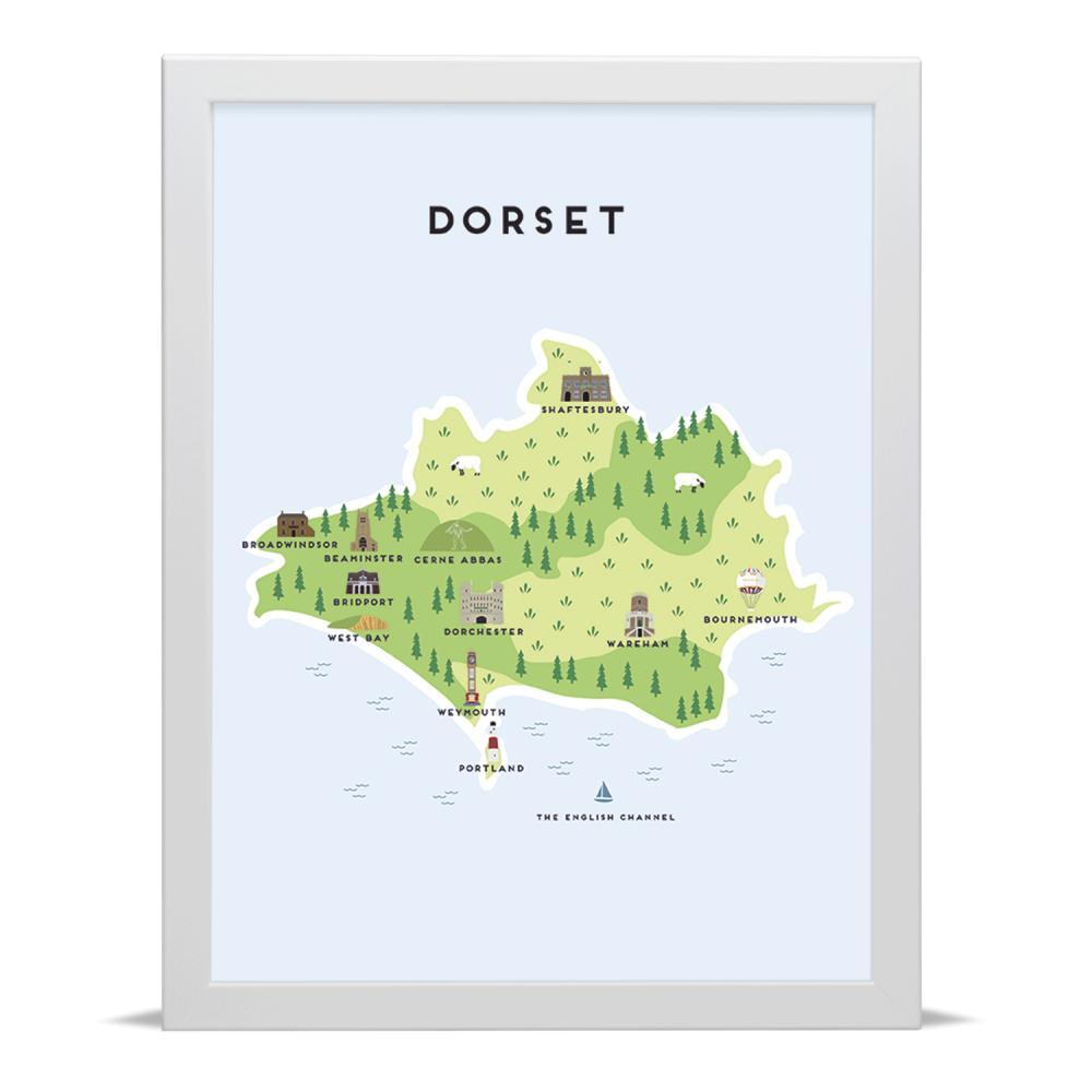 Place in Print Pepper Pot Studios Dorset Illustrated Map Art Print