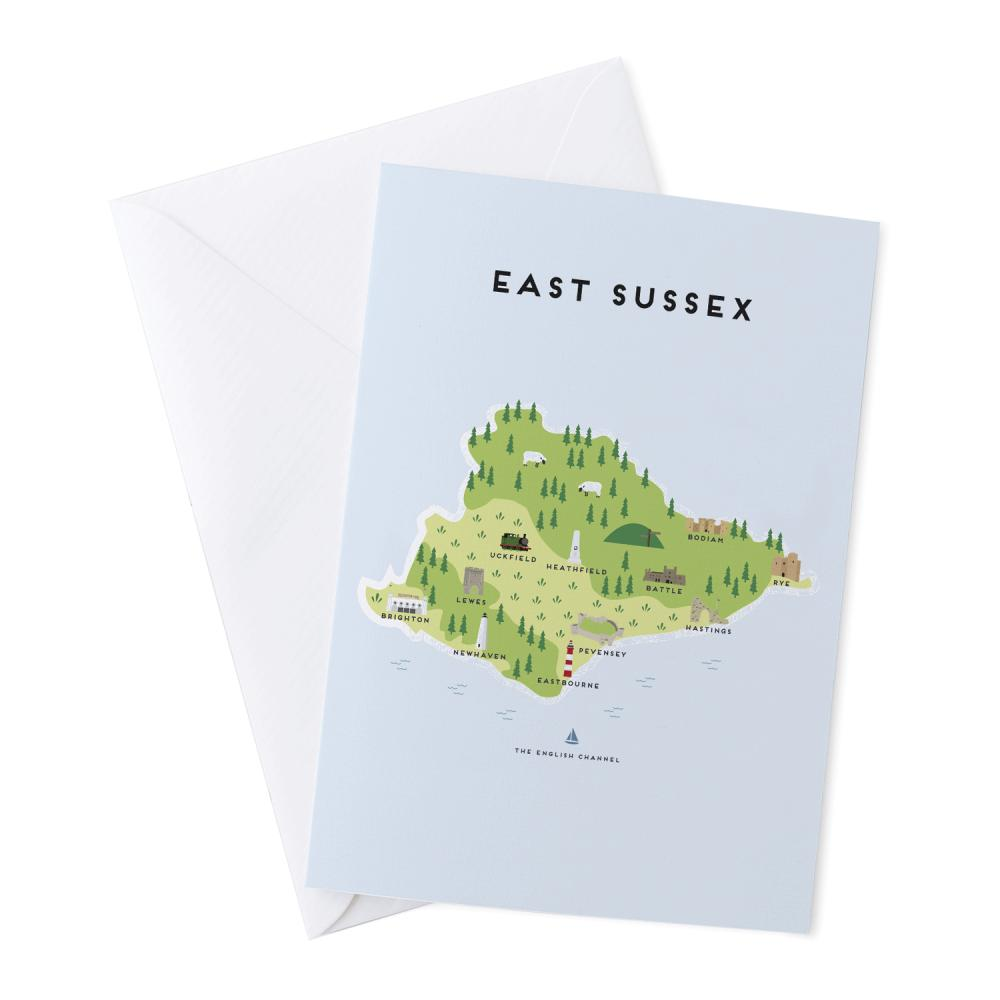 Place in Print Pepper Pot Studios East Sussex Illustrated Map Greetings Card