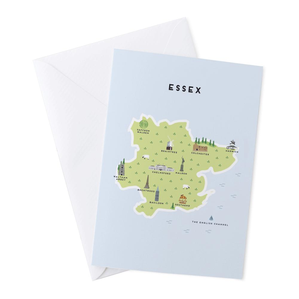 Place in Print Pepper Pot Studios Essex Illustrated Map Greetings Card