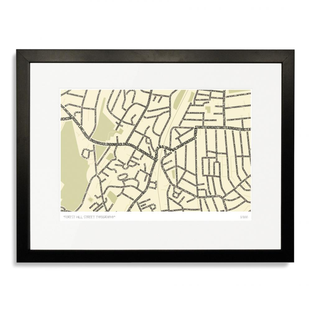 Forest Hill Street Typography Map Art Poster Print