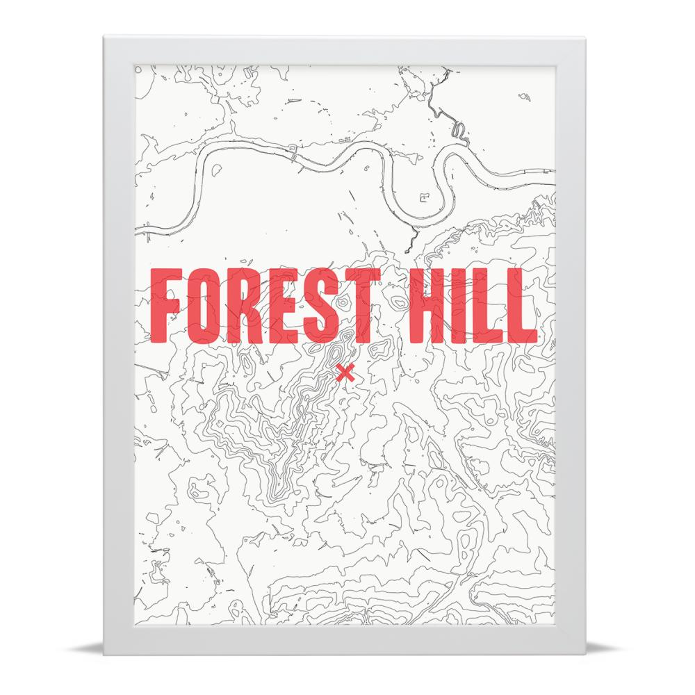 Place in Print Forest Hill Contour Map Art Print