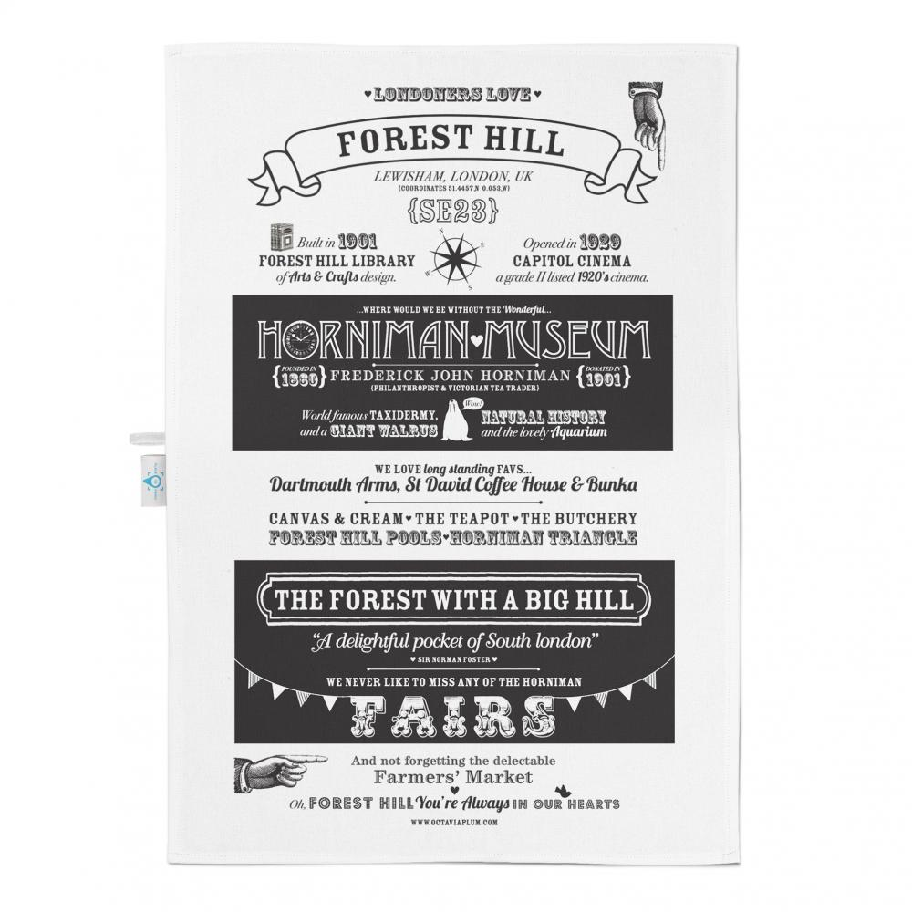 Place in Print Octavia Plum Forest Hill Facts Tea Towel