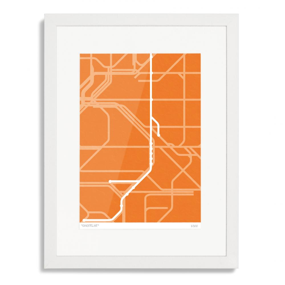 London Overground Gingerline Art Poster Print