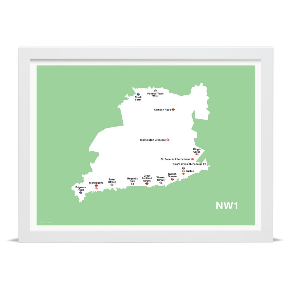 Place in Print MDLThomson NW1 Postcode Map Art Print