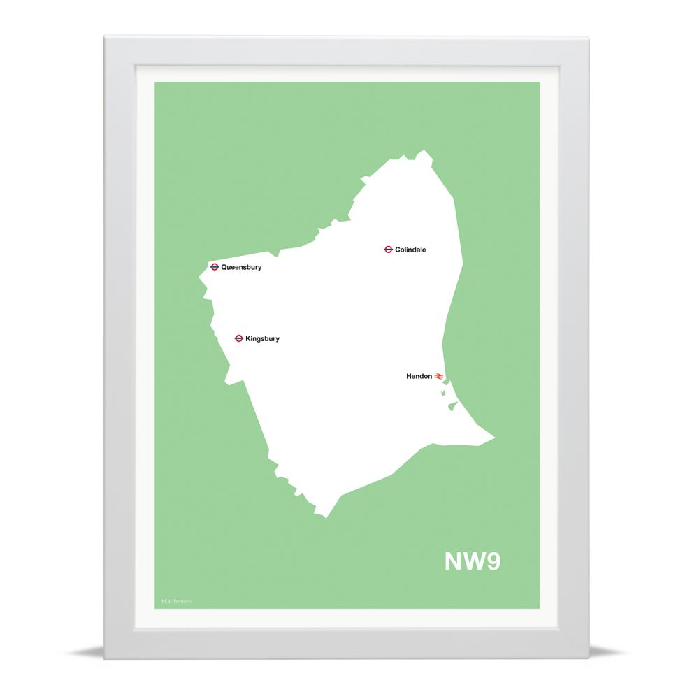 Place in Print MDLThomson NW9 Postcode Map Art Print