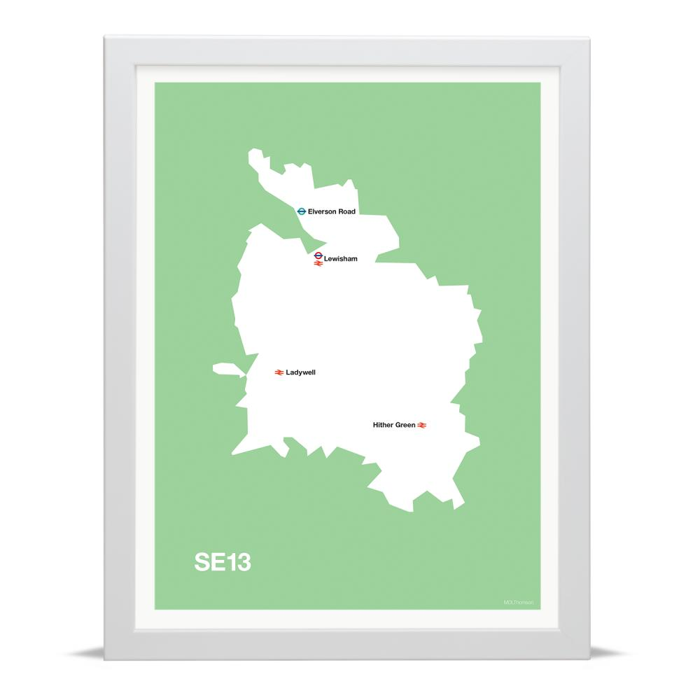 Place in Print MDLThomson SE13 Postcode Map Art Print