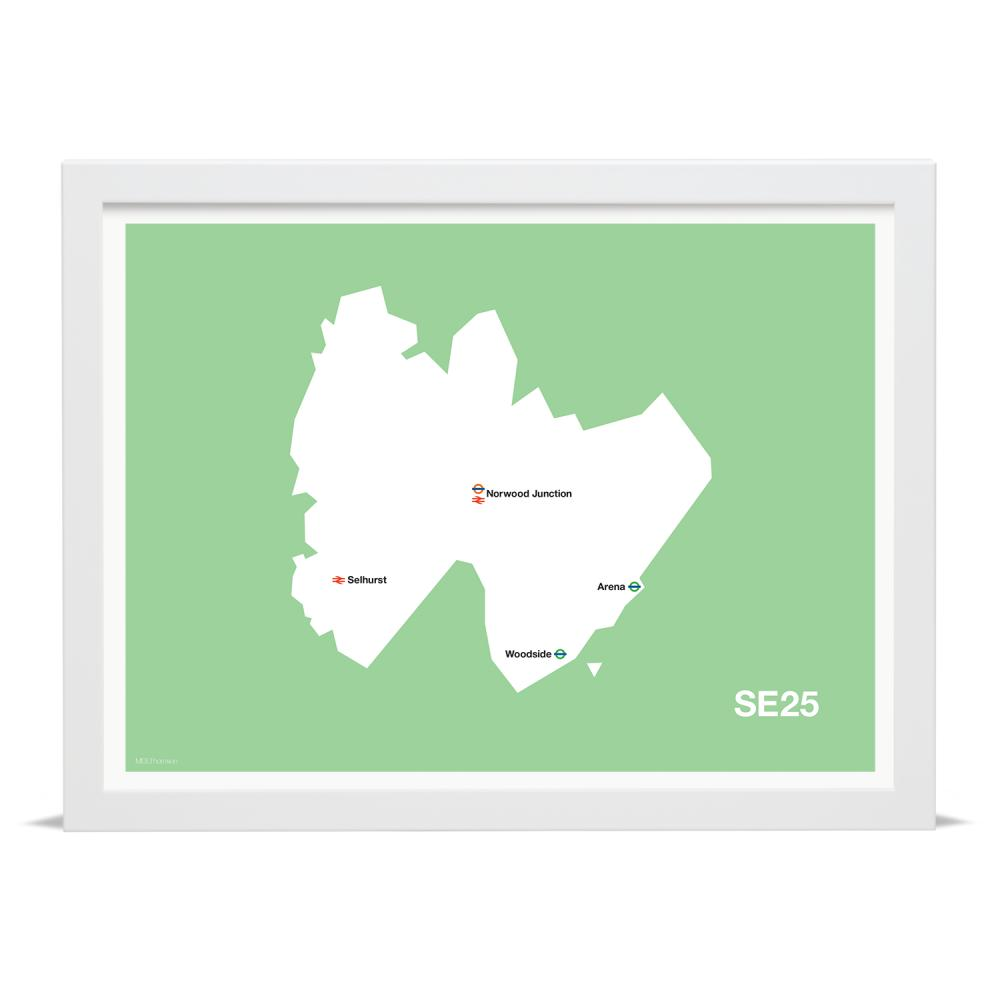 Place in Print MDLThomson SE25 Postcode Map Art Print