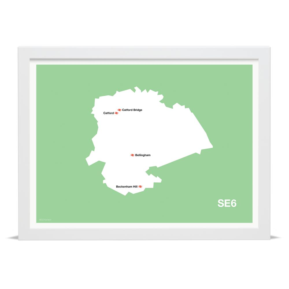 Place in Print MDLThomson SE6 Postcode Map Art Print