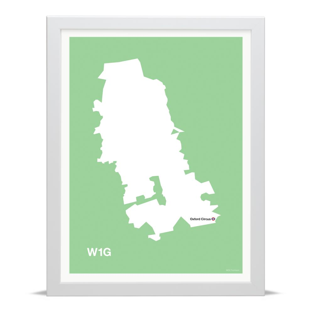 Place in Print MDLThomson W1G Postcode Map Art Print