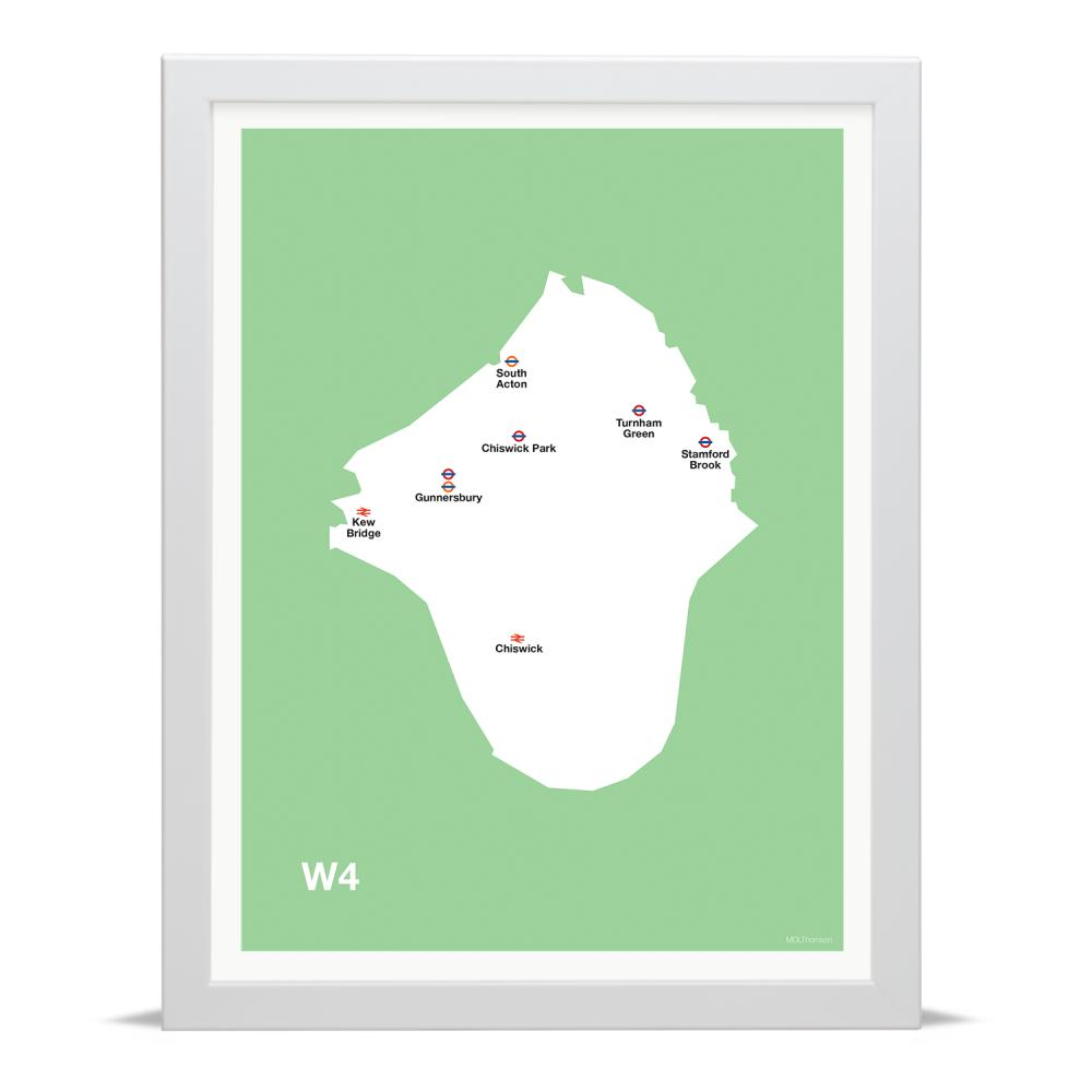 Place in Print MDLThomson W4 Postcode Map Art Print