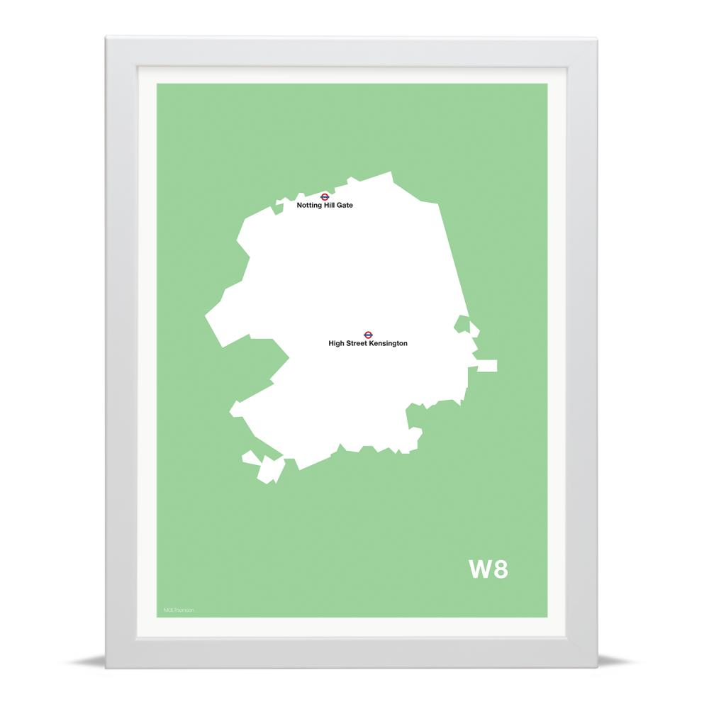 Place in Print MDLThomson W8 Postcode Map Art Print