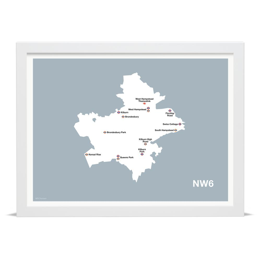 Place in Print MDLThomson NW6 Postcode Map Art Print