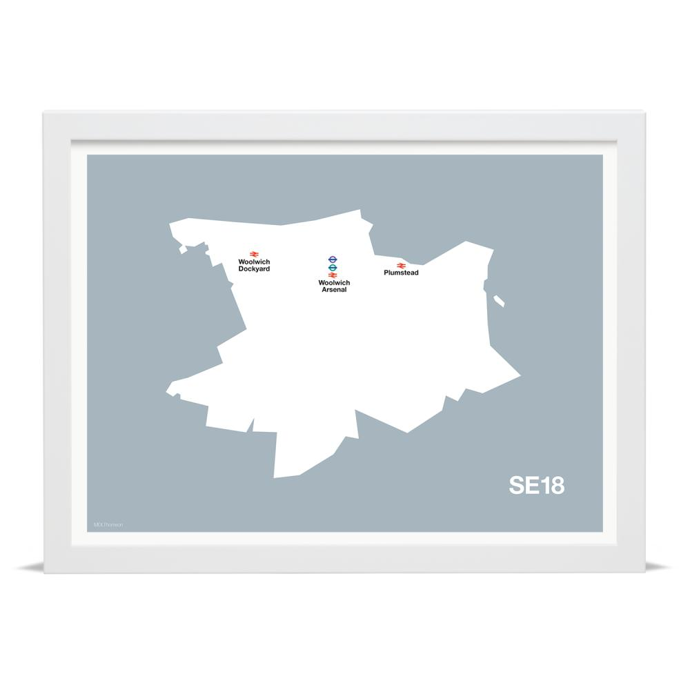 Place in Print MDLThomson SE18 Postcode Map Art Print