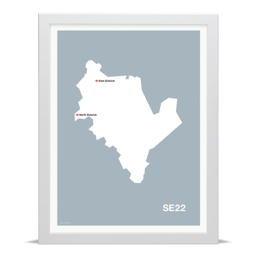 Place in Print MDLThomson SE22 Postcode Map Art Print