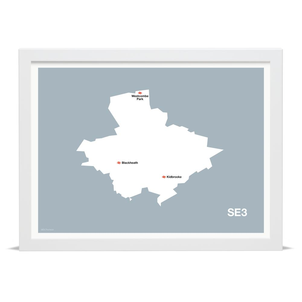 Place in Print MDLThomson SE3 Postcode Map Art Print