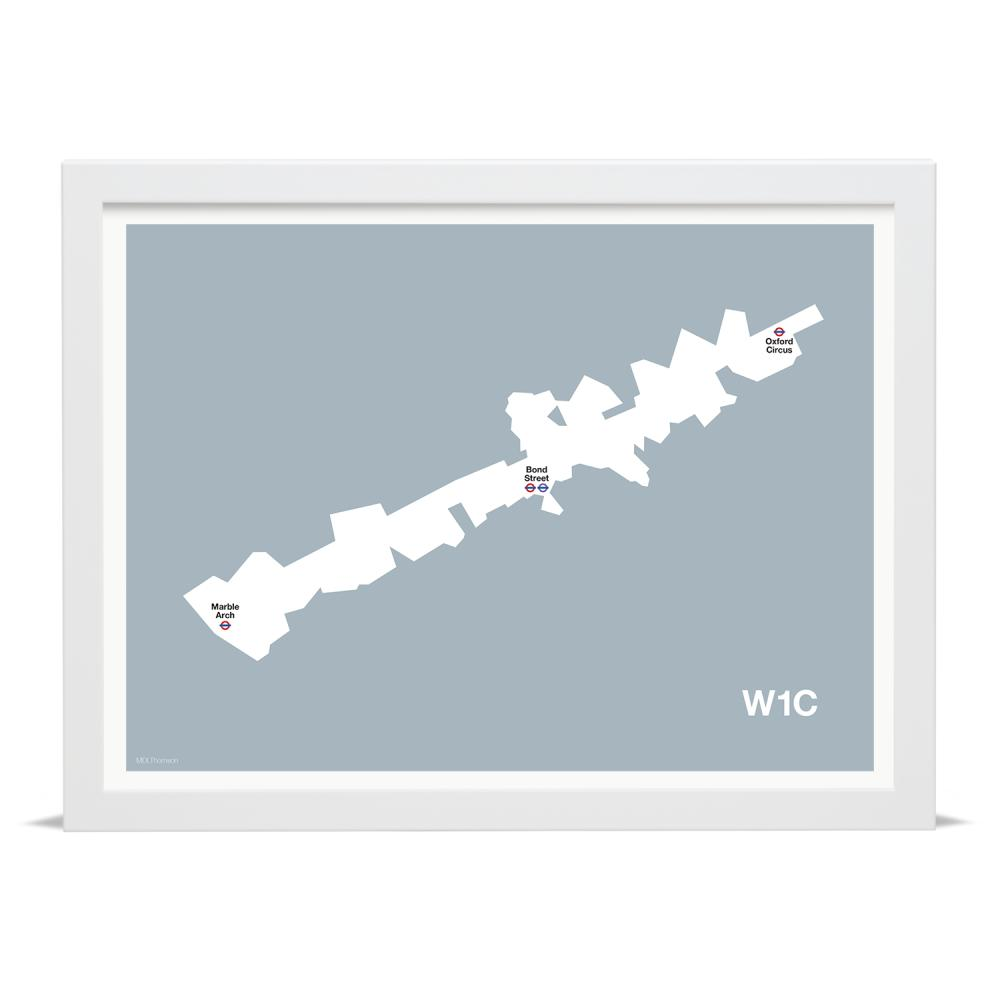 Place in Print MDLThomson W1C Postcode Map Art Print