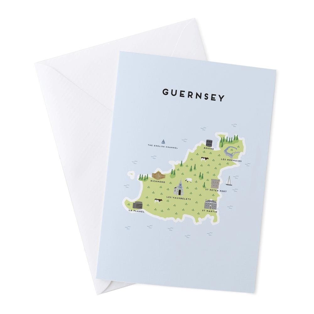 Place in Print Pepper Pot Studios Guernsey Illustrated Map Greetings Card