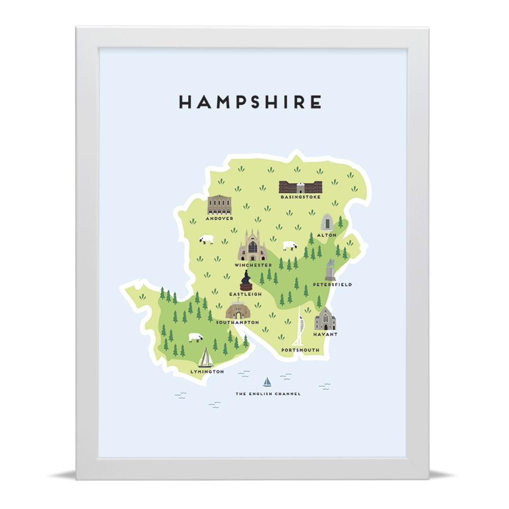 Place in Print Pepper Pot Studios Hampshire Illustrated Map Art Print
