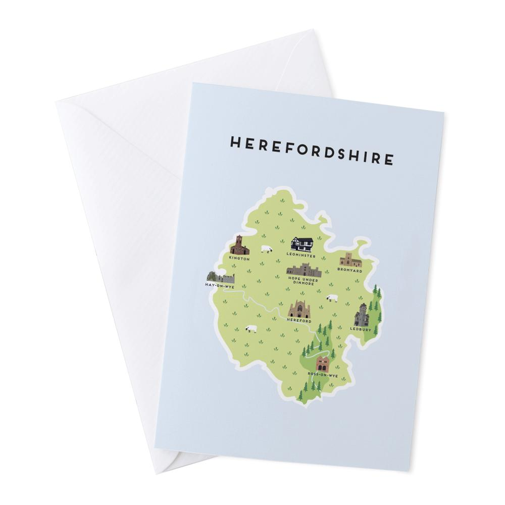 Place in Print Pepper Pot Studios Herefordshire Illustrated Map Greetings Card