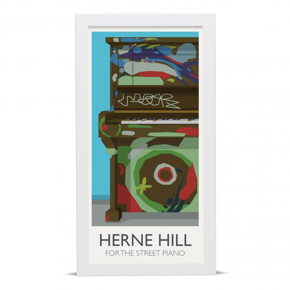 Place in Print Herne Hill Lamppost Banners Street Piano Art Poster Print White Frame