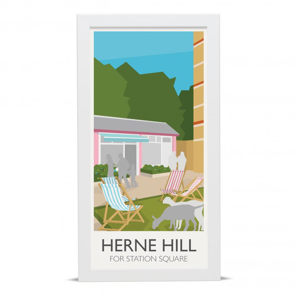 Place in Print Herne Hill Lamppost Banners Station Square Art Poster Print