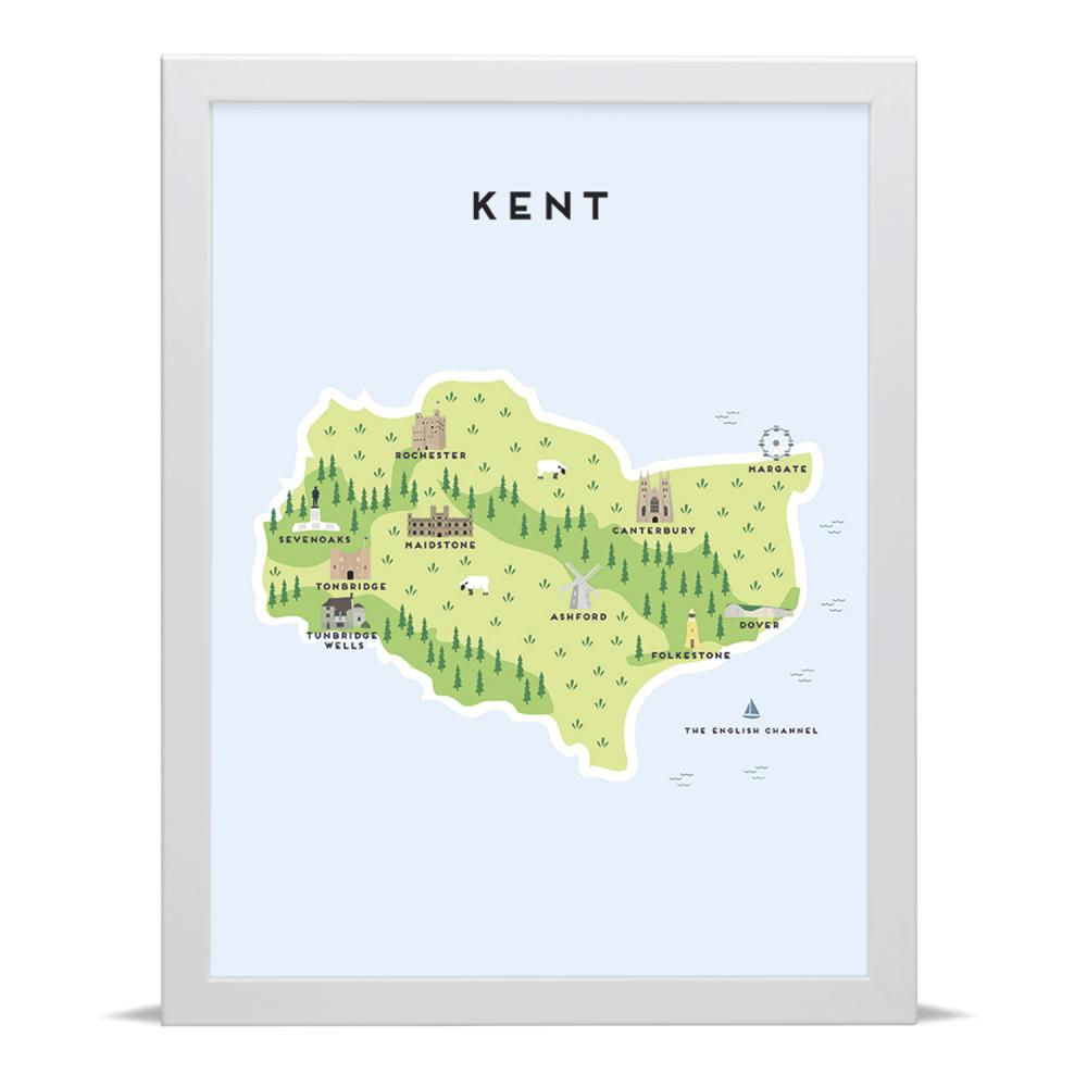 Place in Print Pepper Pot Studios Kent Illustrated Map Art Print