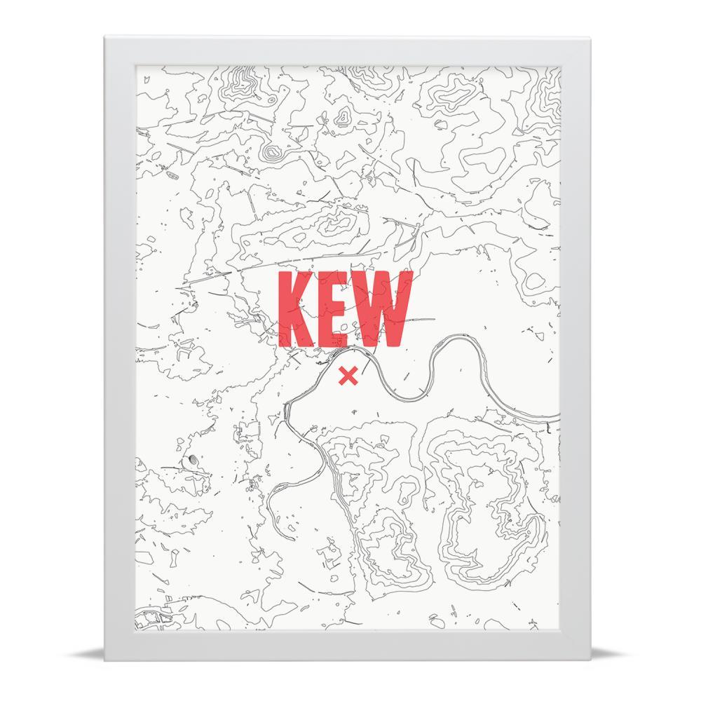 Place in Print Kew Contour Map Art Print