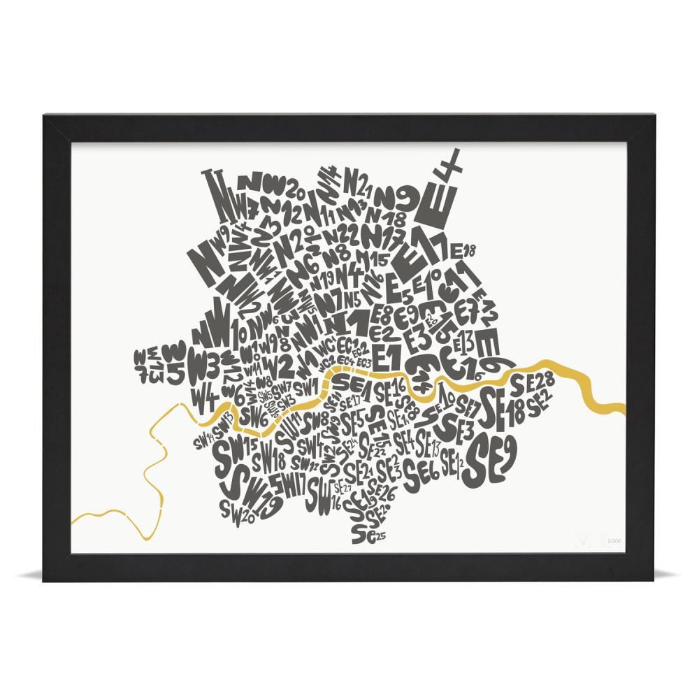 Place in Print London Postcodes Black Gold Art Poster Print