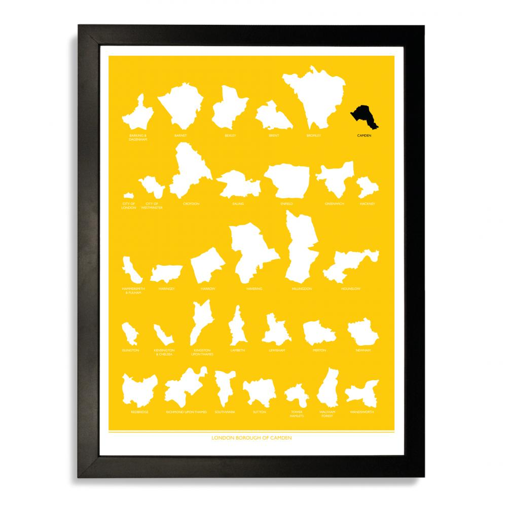 Place in Print London Borough of Camden Yellow Art Print
