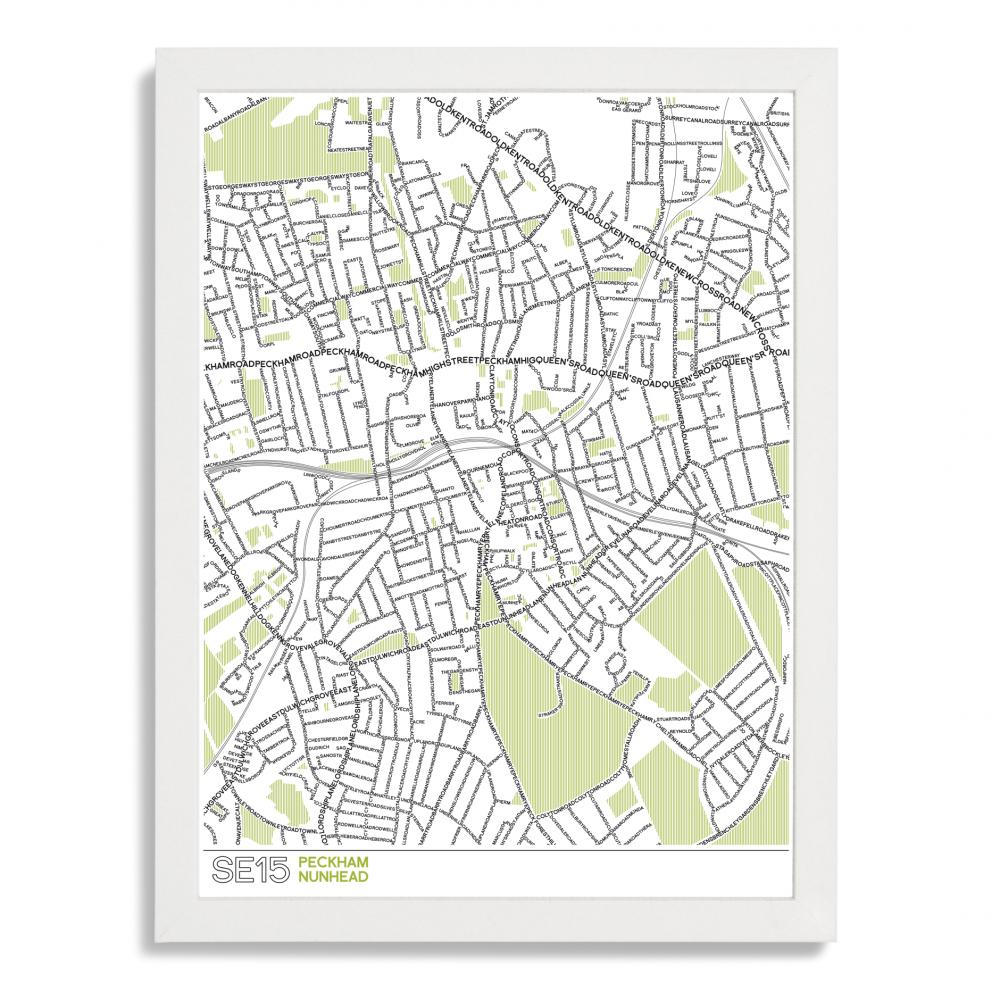 Place in Print SE15 Peckham Nunhead Typographic Map