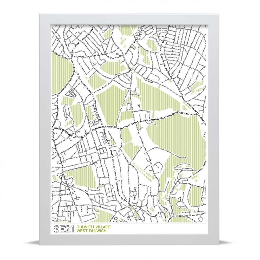 Place in Print SE21 Typographic Map Art Poster Print