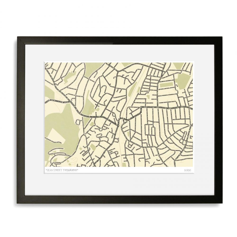 SE23 Street Typography Map Art Poster Print