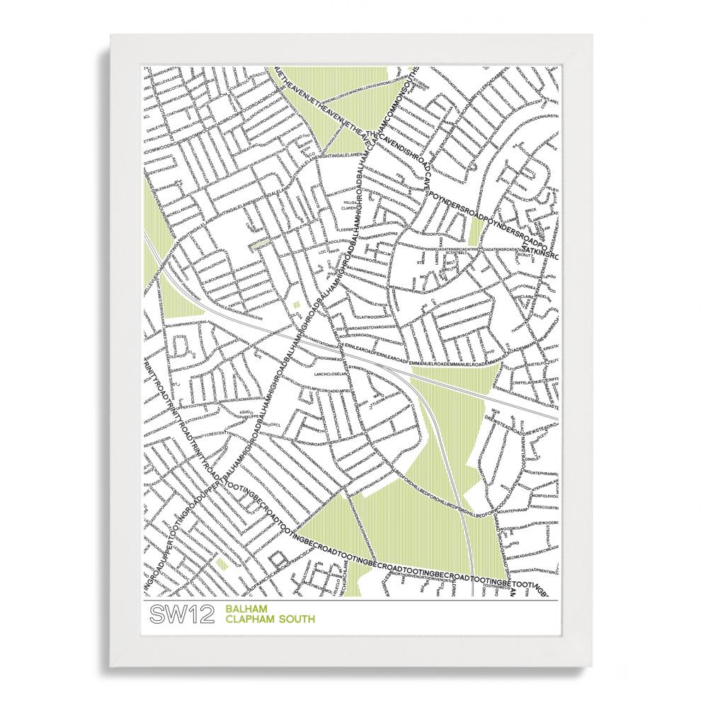 Place in Print SW12 Typographic Map Poster Print